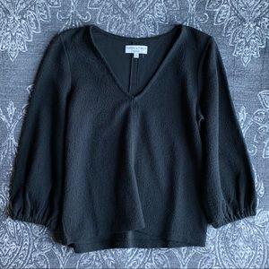 Madewell Texture & Thread Cuff Sleeve V Neck Top